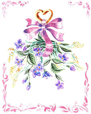 Vintage Flowers From The Heart Poster
