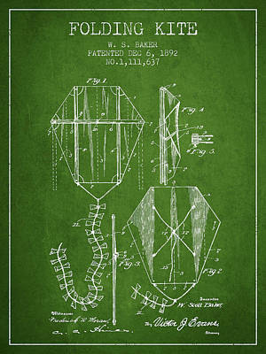 Vintage Folding Kite Patent From 1892 - Green Poster by Aged Pixel