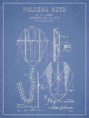 Vintage Folding Kite Patent From 1892 -light Blue Poster by Aged Pixel
