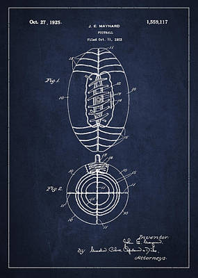 Vintage Football Patent Drawing From 1923 Poster by Aged Pixel