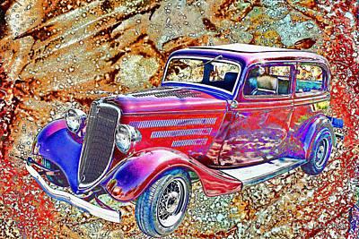 Vintage Ford Art Color Sketch Poster by Lesa Fine