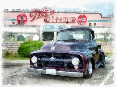 Vintage Ford Pickup At The Diner Poster by Edward Fielding