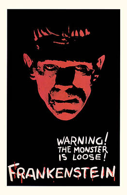 Vintage Frankenstein Movie Art Poster