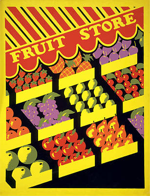 Poster featuring the painting Vintage Fruit Stand by American Classic Art