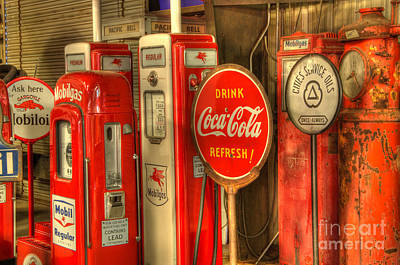 Vintage Gasoline Pumps With Coca Cola Sign Poster by Bob Christopher
