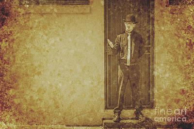 Vintage Gentleman Selling Door To Door Poster
