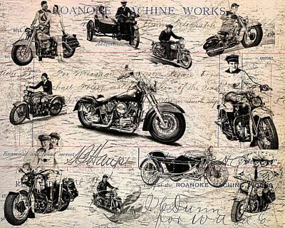 Vintage Harley Davidson Poster Poster by Eti Reid