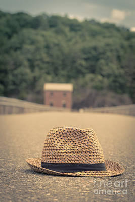 Vintage Hat In The Road With House Beyond Poster by Edward Fielding
