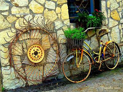 Antique Store Hay Rake And Bicycle Poster by ARTography by Pamela Smale Williams