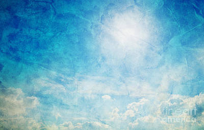 Vintage Image Of Sunny Blue Sky Poster by Michal Bednarek