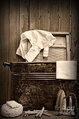 Vintage Laundry Room In Sepia	 Poster by Paul Ward