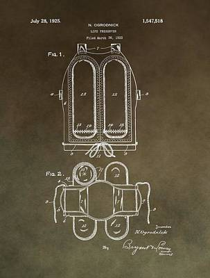 Vintage Life Preserver Patent Poster by Dan Sproul