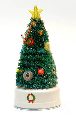 Vintage Lighted Christmas Tree Decoration Poster