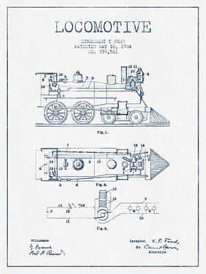 Vintage Locomotive Patent From 1904  -  Blue Ink Poster