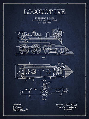 Vintage Locomotive Patent From 1904 Poster