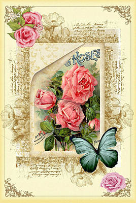 Vintage Look Roses And Butterfly Poster