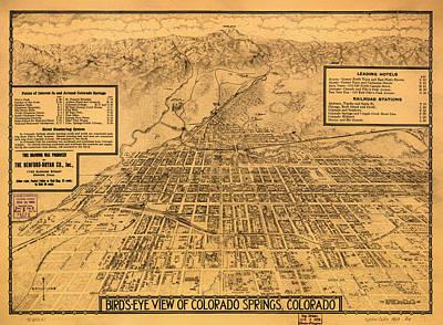 Vintage Map Of Colorado Springs 1909 Poster