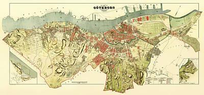 Vintage Map Of Gothenburg Sweden 1888 Poster