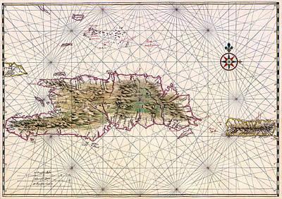 Vintage Map Of Nautical Routes Hispaniola Puerto Rico Poster by Mountain Dreams
