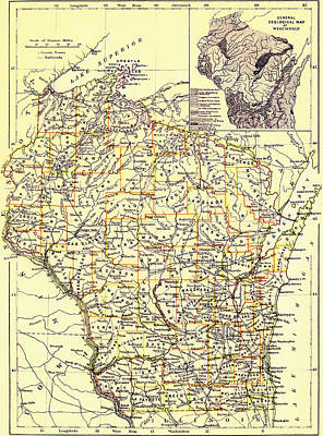 Vintage Map Of Wisconsin 1888 Poster