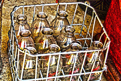 Poster featuring the photograph Vintage Milk Bottles In A Crate   by Lesa Fine