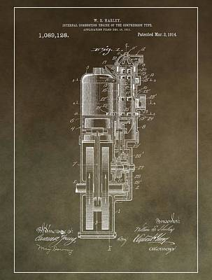 Vintage Motorcycle Engine Patent Poster by Dan Sproul