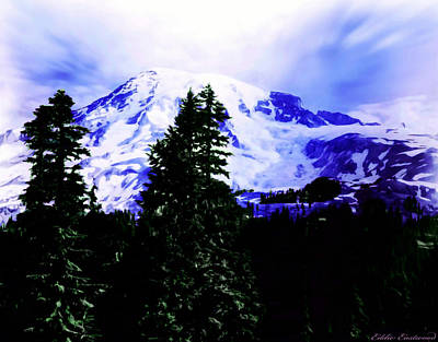Poster featuring the photograph Vintage Mount Rainier From Pinnacle Peak Early 1900 Era... by Eddie Eastwood