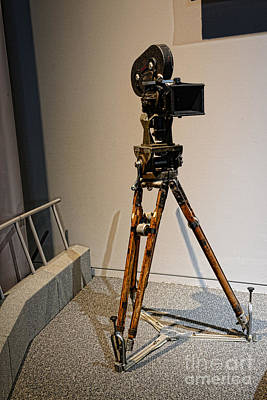 Vintage Movie Camera On Tripod Poster by Paul Ward