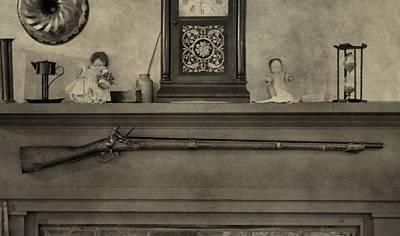 Vintage Muzzleloader Over Fireplace Poster