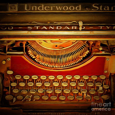 Vintage Nostalgic Typewriter 20150228v2 Square Poster by Wingsdomain Art and Photography
