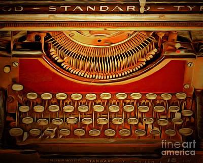 Vintage Nostalgic Typewriter 20150228v2 Poster by Wingsdomain Art and Photography