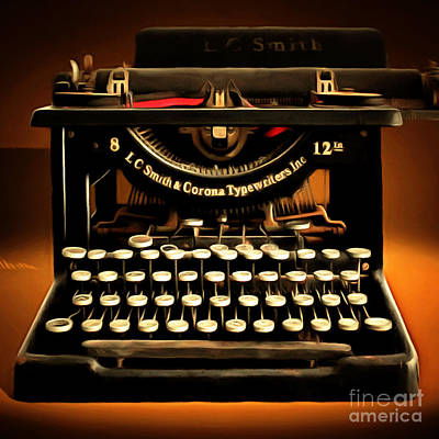 Vintage Nostalgic Typewriter 20150302 Square Poster by Wingsdomain Art and Photography