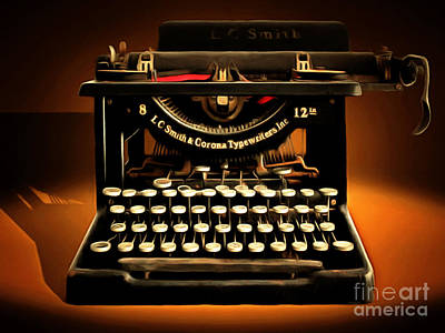 Vintage Nostalgic Typewriter 20150302 Poster by Wingsdomain Art and Photography