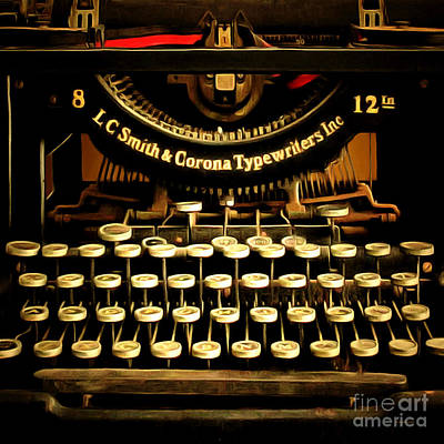 Vintage Nostalgic Typewriter 20150302n2 Square Poster by Wingsdomain Art and Photography