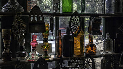 Vintage Oil Lamps And Bottles Poster