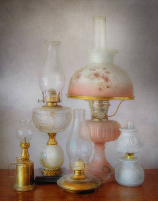 Vintage Oil Lamps Poster by David and Carol Kelly
