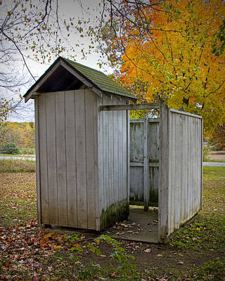 Vintage Outhouse Alongside A Historical Country School In Southwest Michigan Poster by Randall Nyhof