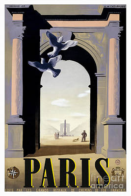 Vintage Paris Travel Poster Poster by Jon Neidert