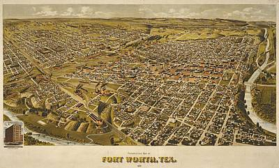 Vintage Perspective Map Forth Worth Texas Poster