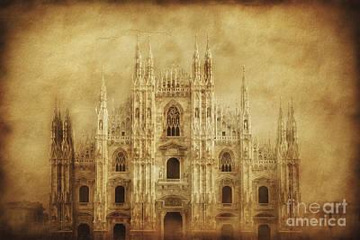 Vintage Photo Of Duomo Di Milano Poster by Evgeny Kuklev