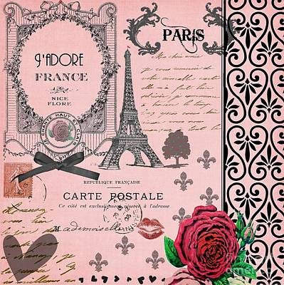 Vintage Pink Paris Collage Poster