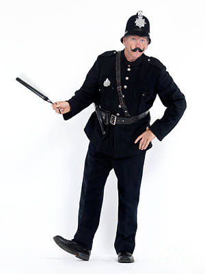 Vintage Police Officer With A Baton Poster