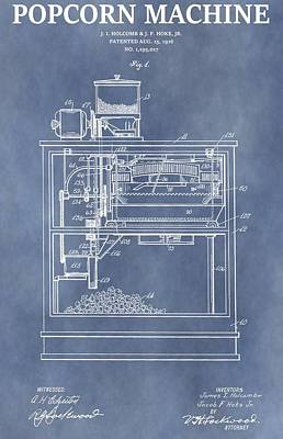 Vintage Popcorn Machine Patent Poster by Dan Sproul