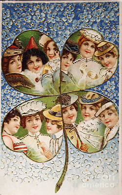 Vintage Postcard Of 1905 With A Lucky Clover Filled With Beautif Poster