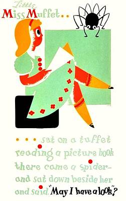 Vintage Poster - Reading - Miss Muffet Poster