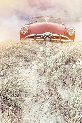 Vintage Red Car In The Sand Dunes Poster by Edward Fielding