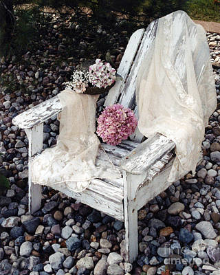 Vintage Romantic Shabby Chic Adirondac Chair Poster by Kathy Fornal