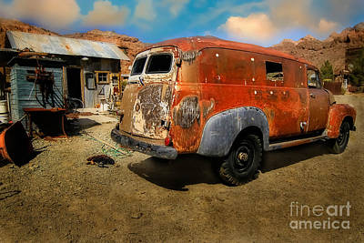 Vintage Rusty Chevy Panel Truck Poster by Brenda Giasson