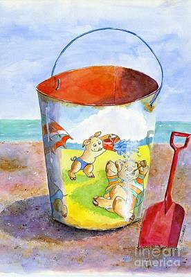 Vintage Sand Pail- 3 Pigs At The Beach Poster by Sheryl Heatherly Hawkins