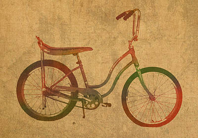Vintage Schwinn Bicycle Watercolor On Worn Distressed Canvas Series No 001 Poster